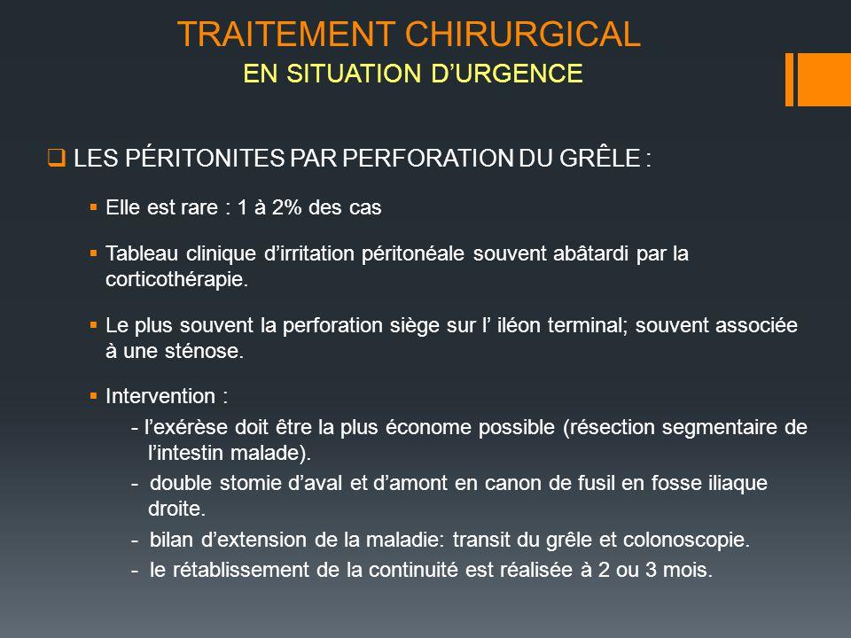 LES PÉRITONITES PAR PERFORATION DU GRÊLE : Elle est rare : 1 à 2% des cas Tableau clinique dirritation péritonéale souvent abâtardi par la corticothér