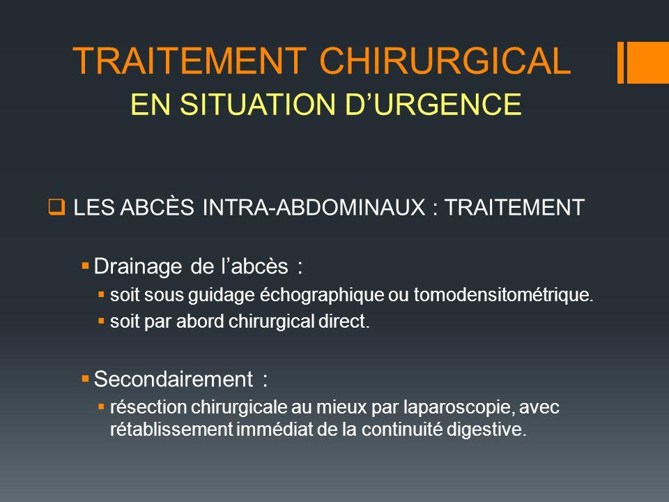 LES ABCÈS INTRA-ABDOMINAUX : TRAITEMENT Drainage de labcès : soit sous guidage échographique ou tomodensitométrique. soit par abord chirurgical direct