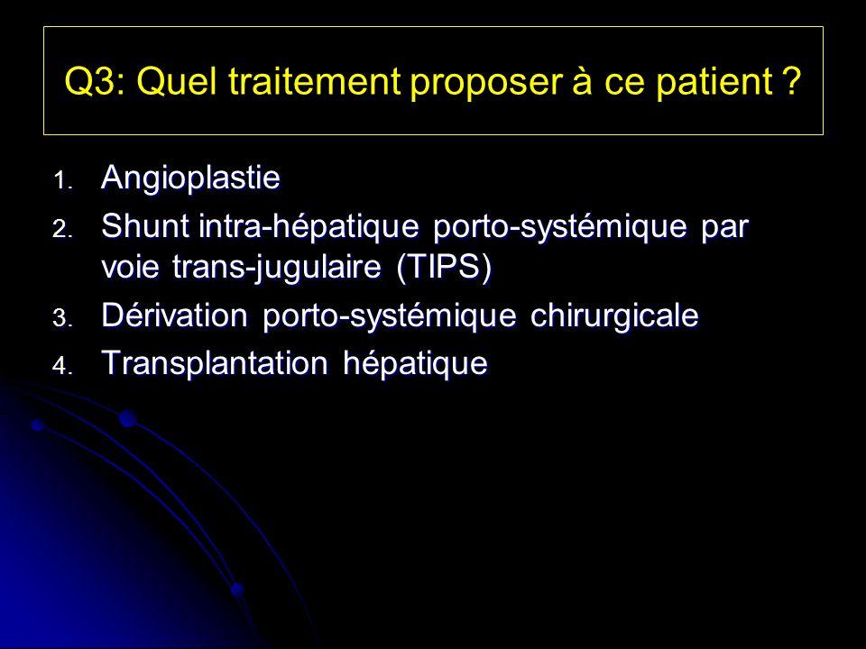 Q3: Quel traitement proposer à ce patient ? 1. Angioplastie 2. Shunt intra-hépatique porto-systémique par voie trans-jugulaire (TIPS) 3. Dérivation po