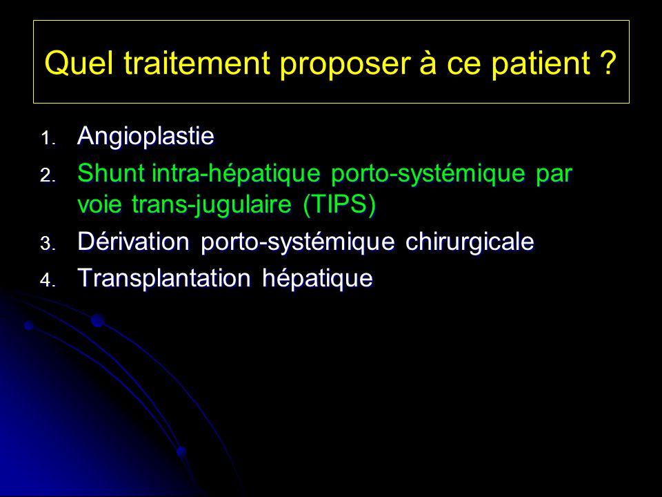 Quel traitement proposer à ce patient ? 1. Angioplastie 2. Shunt intra-hépatique porto-systémique par voie trans-jugulaire (TIPS) 3. Dérivation porto-