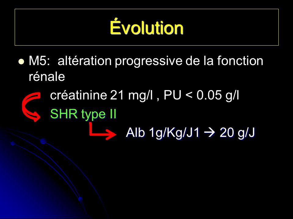 Évolution M5: altération progressive de la fonction rénale créatinine 21 mg/l, PU < 0.05 g/l SHR type II SHR type II Alb 1g/Kg/J1 20 g/J Alb 1g/Kg/J1