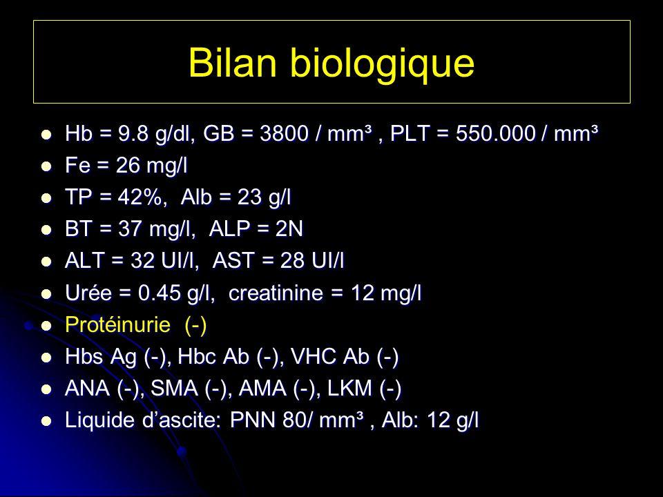 Bilan biologique Hb = 9.8 g/dl, GB = 3800 / mm³, PLT = 550.000 / mm³ Hb = 9.8 g/dl, GB = 3800 / mm³, PLT = 550.000 / mm³ Fe = 26 mg/l Fe = 26 mg/l TP