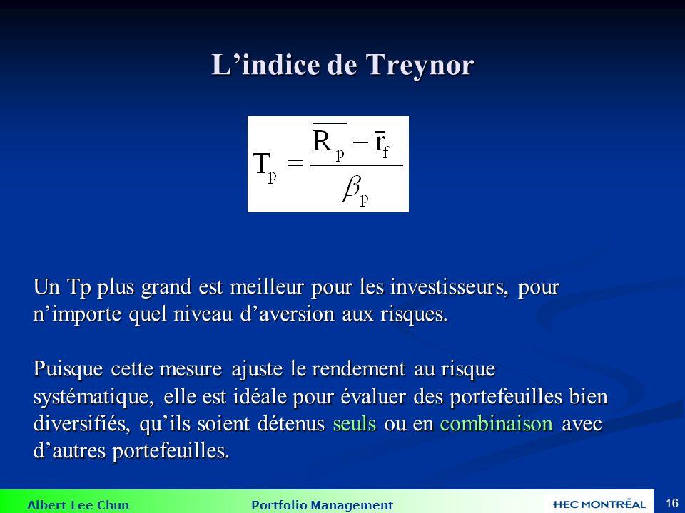Albert Lee Chun Portfolio Management 16 Lindice de Treynor Un Tp plus grand est meilleur pour les investisseurs, pour nimporte quel niveau daversion a