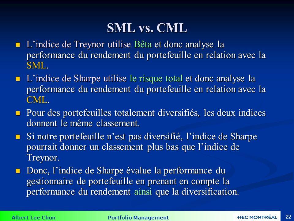 Albert Lee Chun Portfolio Management 22 SML vs. CML Lindice de Treynor utilise Bêta et donc analyse la performance du rendement du portefeuille en rel