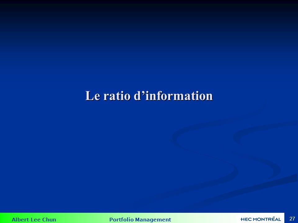 Albert Lee Chun Portfolio Management 27 Le ratio dinformation