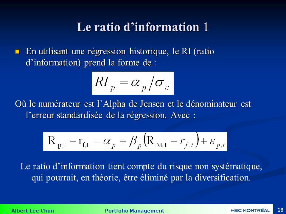 Albert Lee Chun Portfolio Management 28 Le ratio dinformation 1 En utilisant une régression historique, le RI (ratio dinformation) prend la forme de :