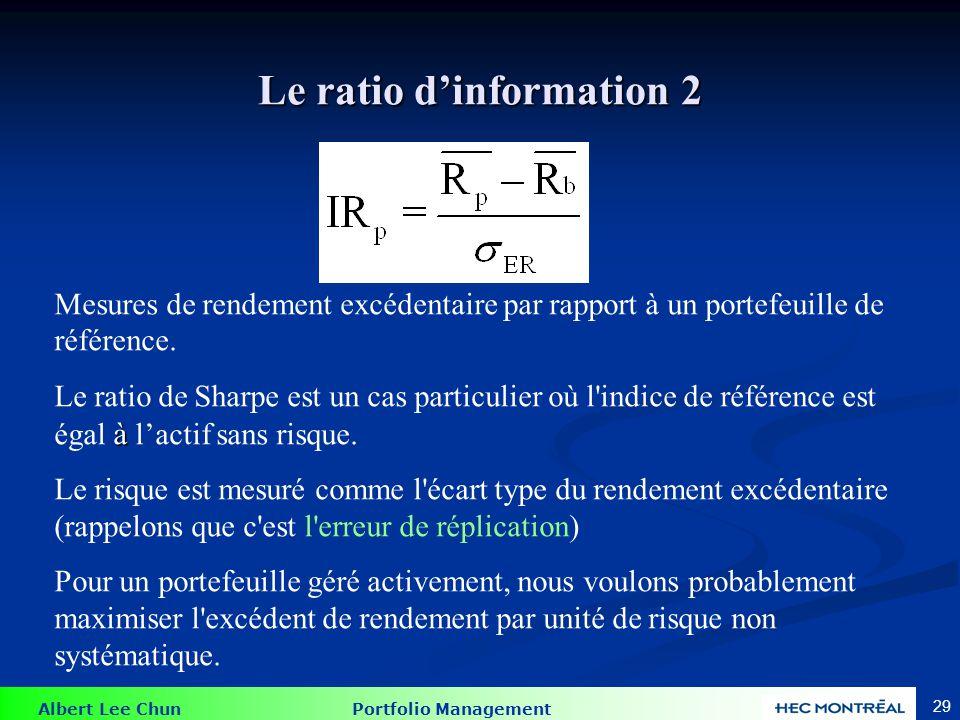 Albert Lee Chun Portfolio Management 29 Le ratio dinformation 2 Mesures de rendement excédentaire par rapport à un portefeuille de référence. à Le rat