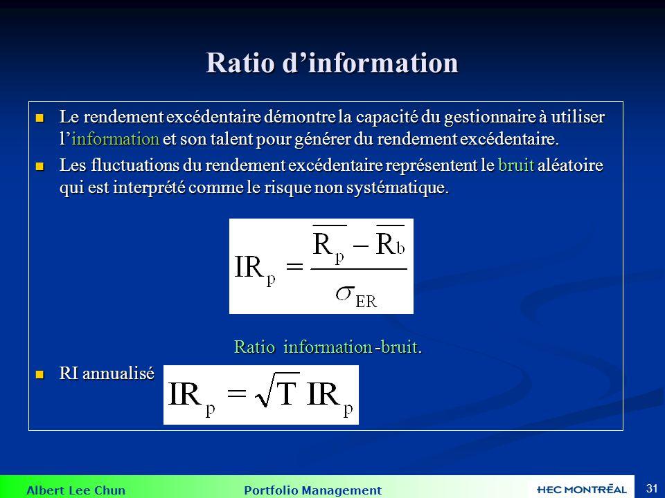 Albert Lee Chun Portfolio Management 31 Ratio dinformation Le rendement excédentaire démontre la capacité du gestionnaire à utiliser linformation et s