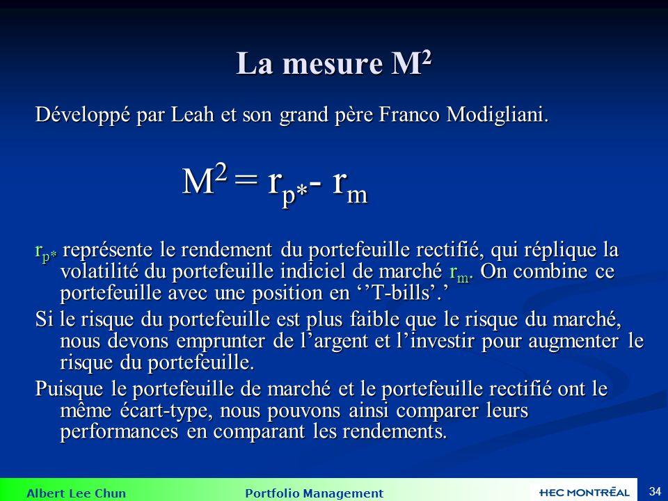 Albert Lee Chun Portfolio Management 34 La mesure M 2 Développé par Leah et son grand père Franco Modigliani. M 2 = r p* - r m M 2 = r p* - r m r p* r