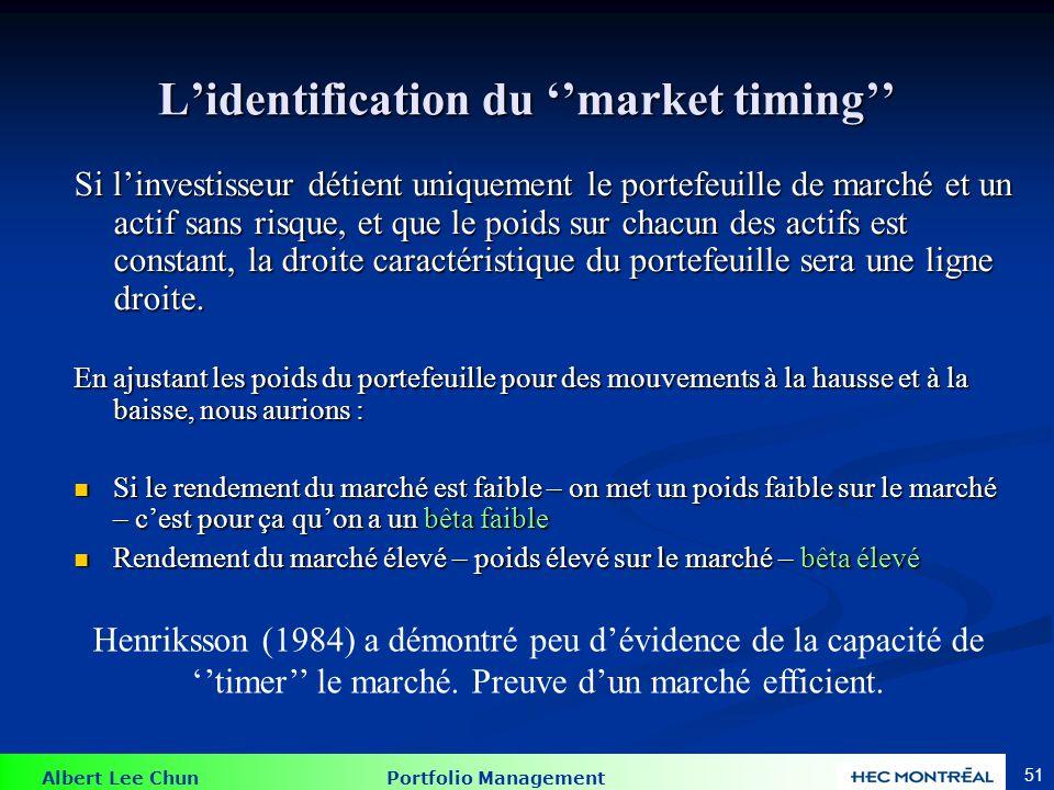 Albert Lee Chun Portfolio Management 51 Si linvestisseur détient uniquement le portefeuille de marché et un actif sans risque, et que le poids sur cha
