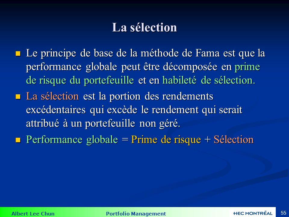 Albert Lee Chun Portfolio Management 55 La sélection Le principe de base de la méthode de Fama est que la performance globale peut être décomposée en