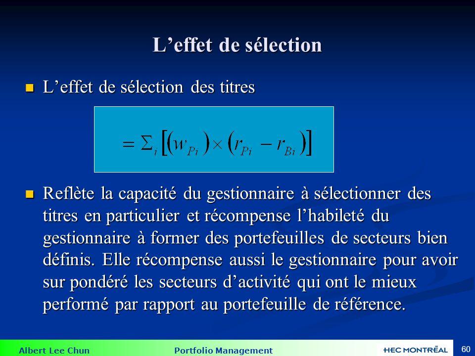 Albert Lee Chun Portfolio Management 60 Leffet de sélection Leffet de sélection des titres Leffet de sélection des titres Reflète la capacité du gesti