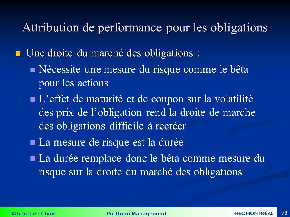 Albert Lee Chun Portfolio Management 76 Attribution de performance pour les obligations Une droite du marché des obligations : Une droite du marché de