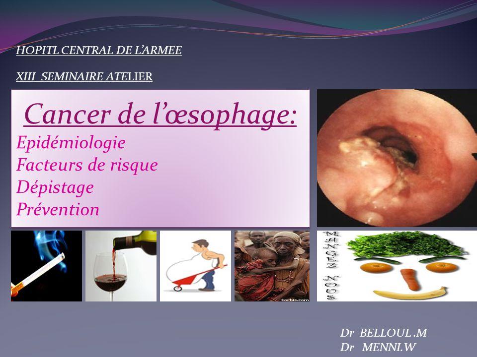 Dr BELLOUL.M Dr MENNI.W Cancer de lœsophage: Epidémiologie Facteurs de risque Dépistage Prévention Cancer de lœsophage: Epidémiologie Facteurs de risq