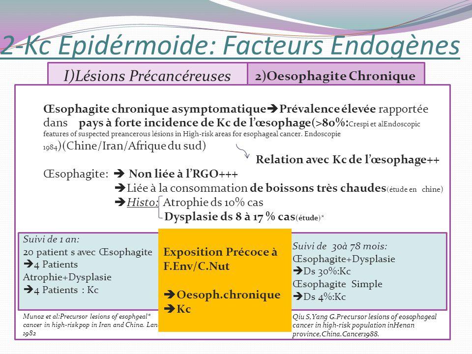 2-Kc Epidérmoide: Facteurs Endogènes I)Lésions Précancéreuses 2)Oesophagite Chronique Œsophagite chronique asymptomatique Prévalence élevée rapportée