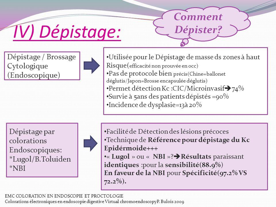 IV) Dépistage: Comment Dépister? Dépistage / Brossage Cytologique (Endoscopique) Utilisée pour le Dépistage de masse ds zones à haut Risque( efficacit