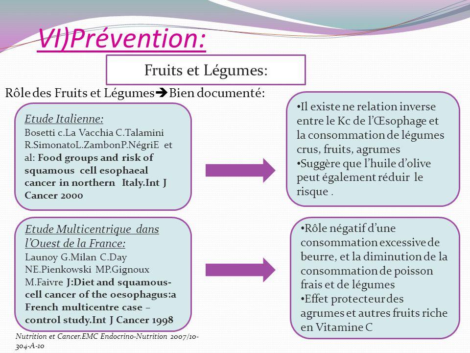 VI)Prévention: Rôle des Fruits et Légumes Bien documenté: Fruits et Légumes: Etude Italienne: Bosetti c.La Vacchia C.Talamini R.SimonatoL.ZambonP.Négr