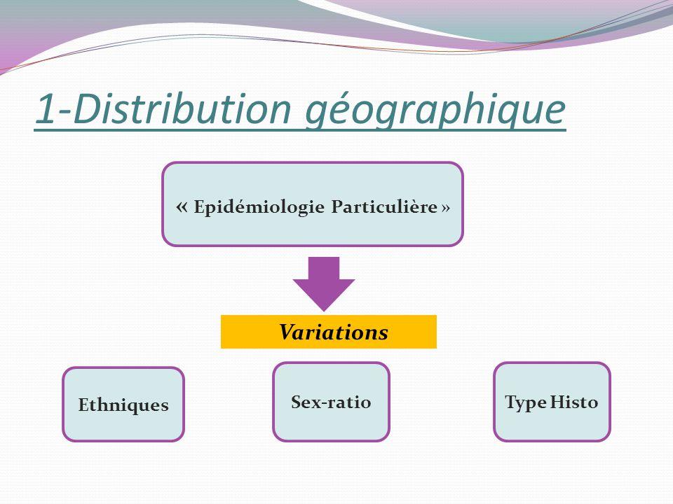 1-Distribution géographique Ethniques Sex-ratioType Histo Variations « Epidémiologie Particulière »