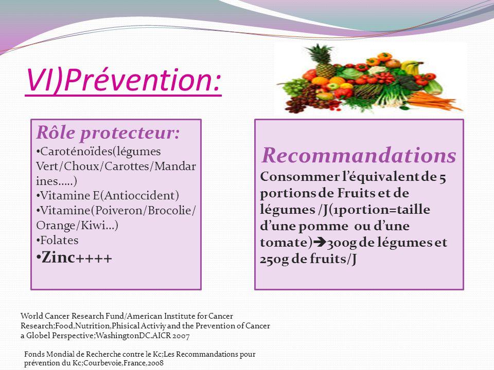 VI)Prévention: Rôle protecteur: Caroténoïdes(légumes Vert/Choux/Carottes/Mandar ines…..) Vitamine E(Antioccident) Vitamine(Poiveron/Brocolie/ Orange/K