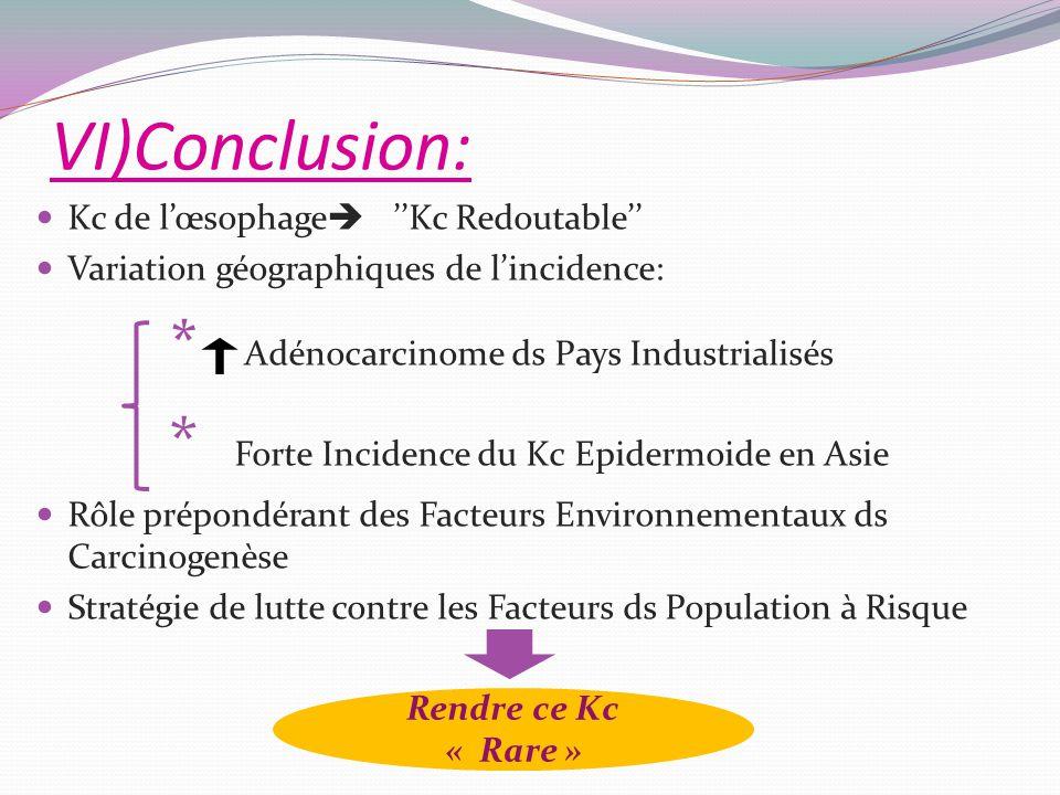 VI)Conclusion: Kc de lœsophage Kc Redoutable Variation géographiques de lincidence: * Adénocarcinome ds Pays Industrialisés * Forte Incidence du Kc Ep
