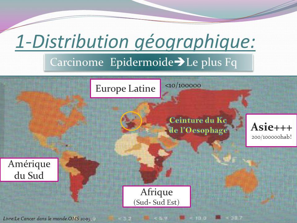 1-Distribution géographique: Carcinome Epidermoide Le plus Fq Asie+++ 200/100000hab! Afrique (Sud- Sud Est) Amérique du Sud Europe Latine <10/100000 L