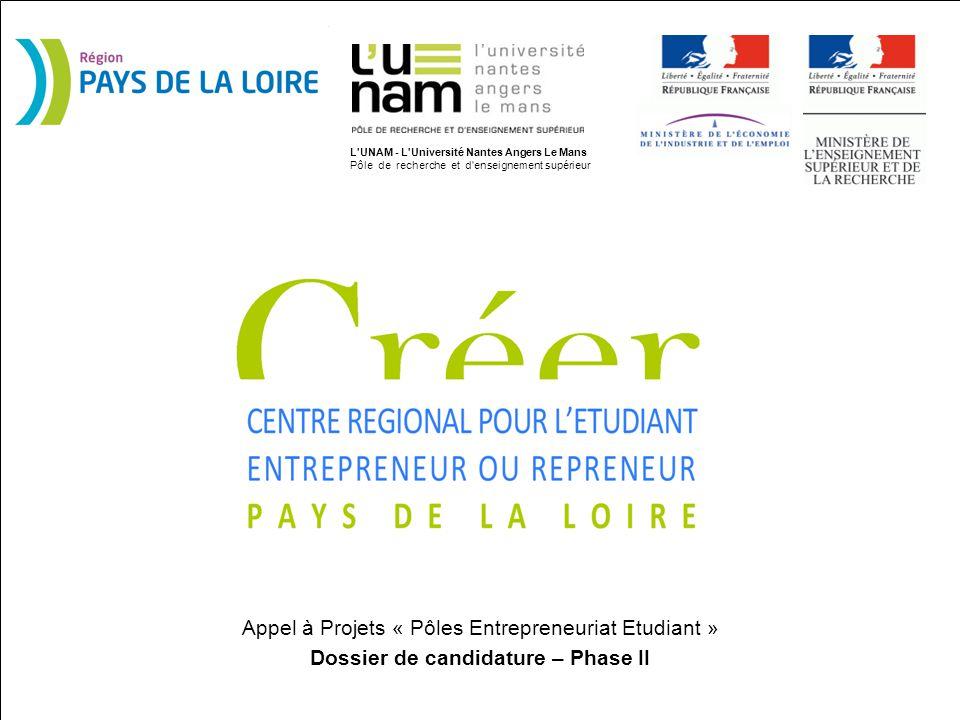 CRÉER* en Pays de la Loire Appel à Projets « Pôles Entrepreneuriat Etudiant » Dossier de candidature – Phase II L'UNAM - L'Université Nantes Angers Le