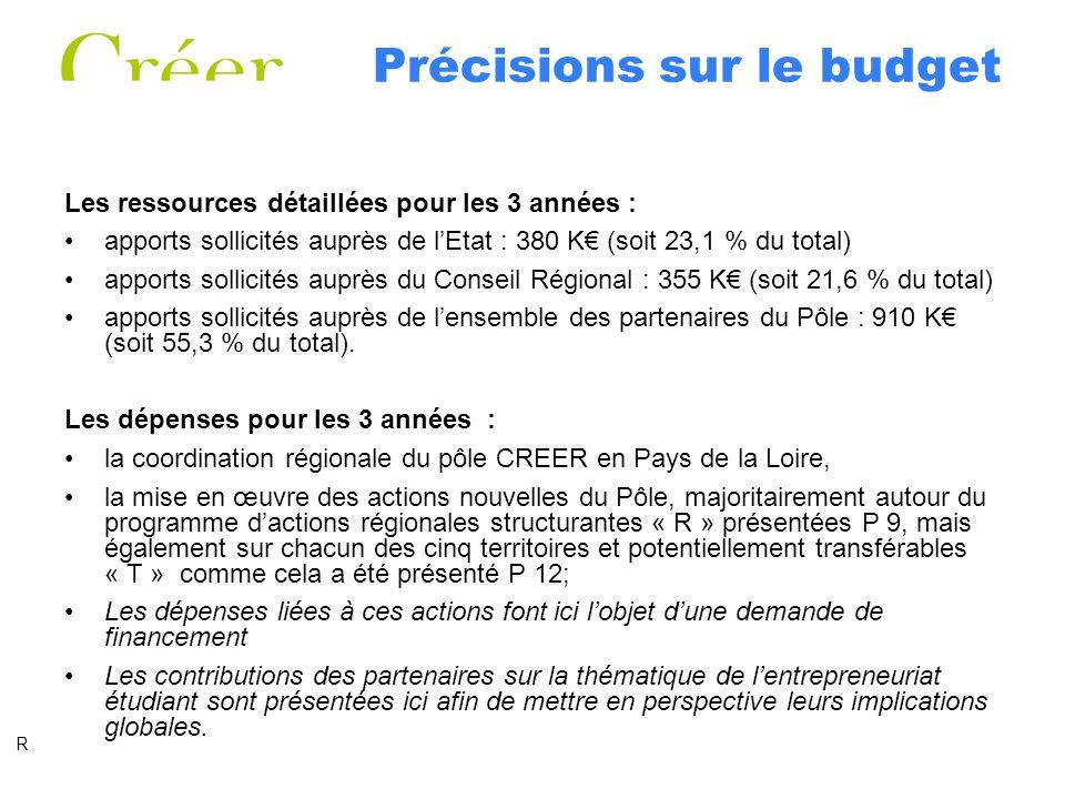 Précisions sur le budget Les ressources détaillées pour les 3 années : apports sollicités auprès de lEtat : 380 K (soit 23,1 % du total) apports sollicités auprès du Conseil Régional : 355 K (soit 21,6 % du total) apports sollicités auprès de lensemble des partenaires du Pôle : 910 K (soit 55,3 % du total).