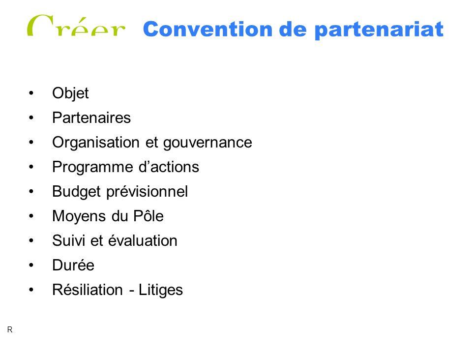 Convention de partenariat Objet Partenaires Organisation et gouvernance Programme dactions Budget prévisionnel Moyens du Pôle Suivi et évaluation Durée Résiliation - Litiges R