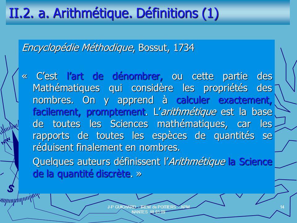 II.2.a. Arithmétique.