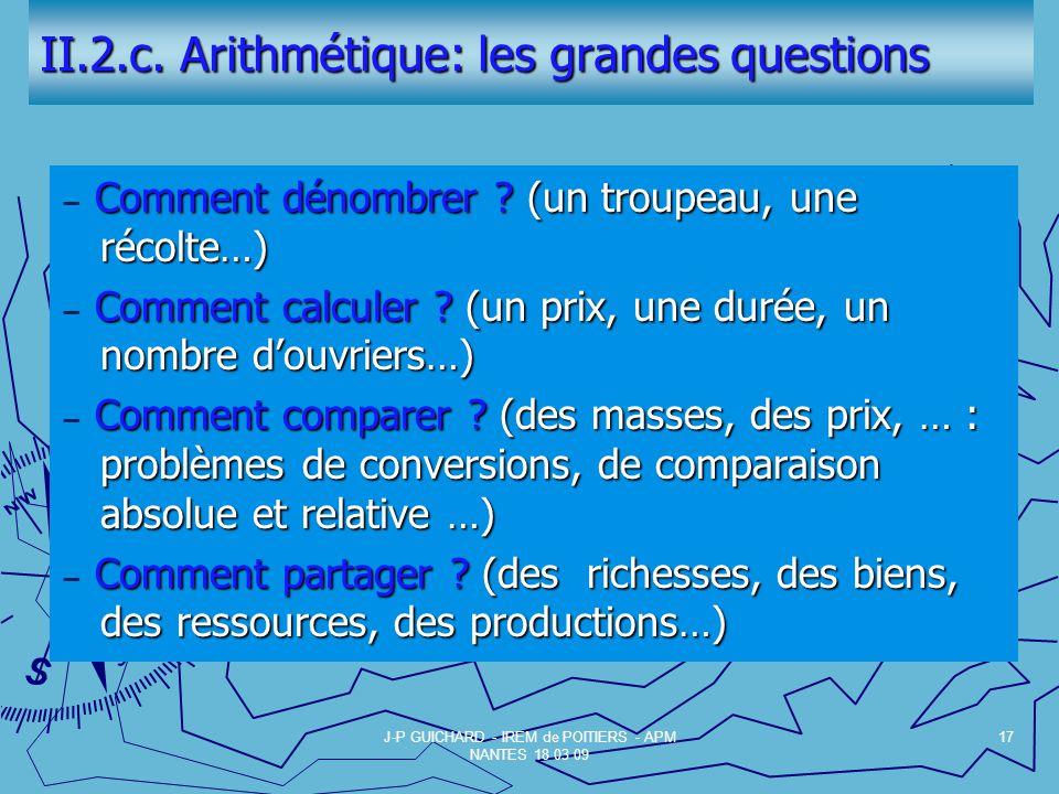 II.2.c.Arithmétique: les grandes questions Comment dénombrer .