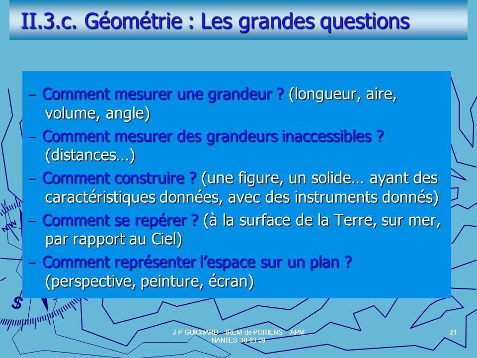 II.3.c.Géométrie : Les grandes questions II.3.c.