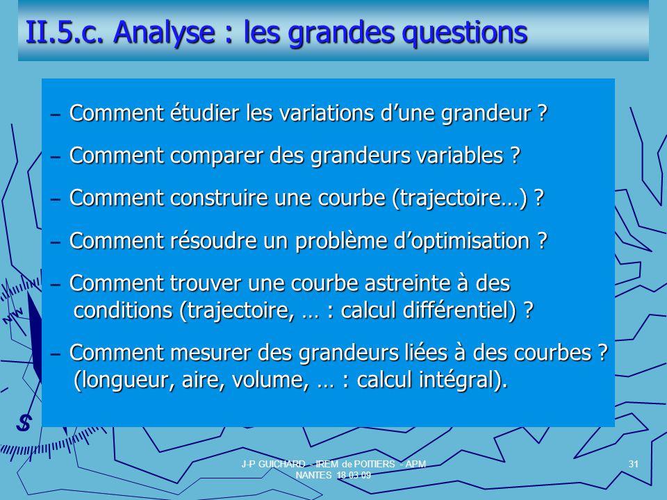 II.5.c.Analyse : les grandes questions Comment étudier les variations dune grandeur .