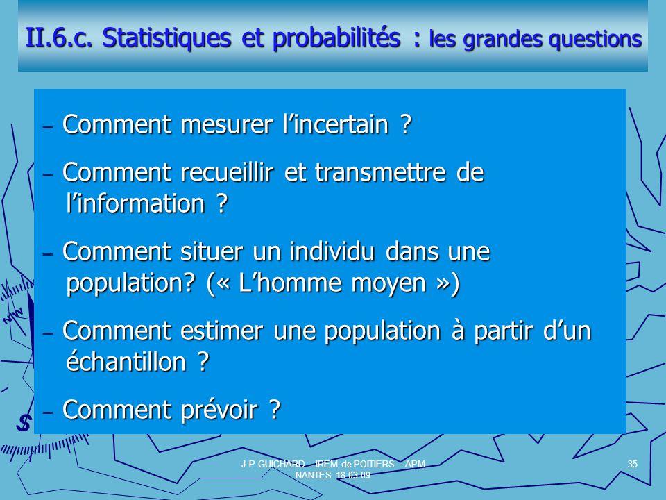 II.6.c.Statistiques et probabilités : les grandes questions Comment mesurer lincertain .