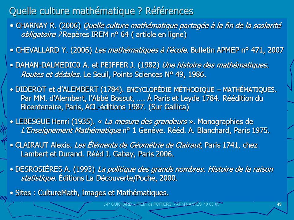 Quelle culture mathématique .Références Quelle culture mathématique .