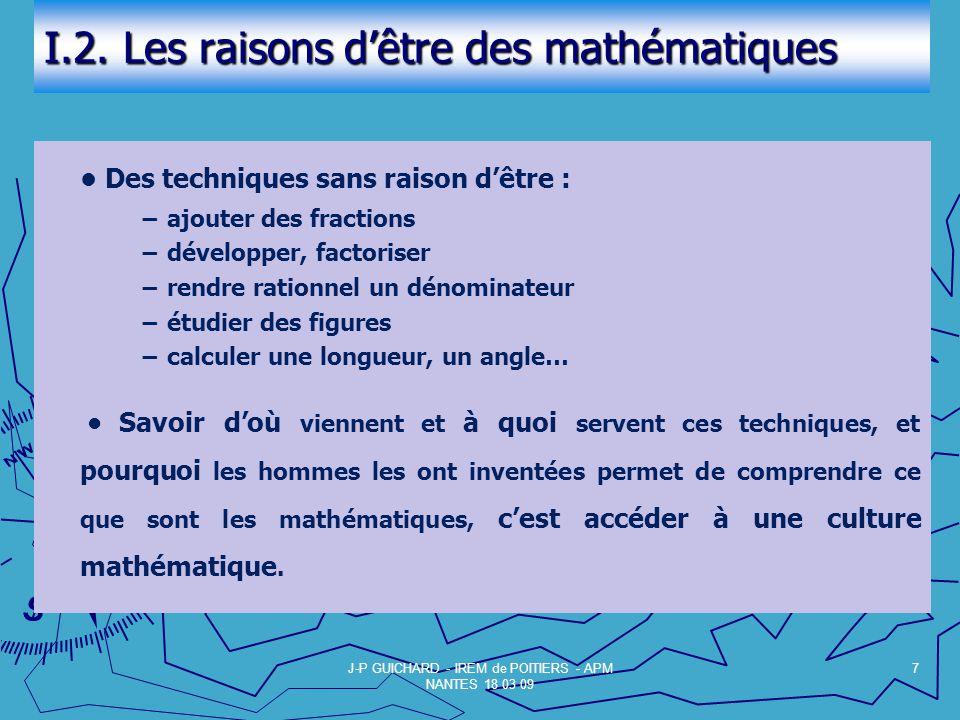 I.2. Les raisons dêtre des mathématiques Des techniques sans raison dêtre : ajouter des fractions développer, factoriser rendre rationnel un dénominat