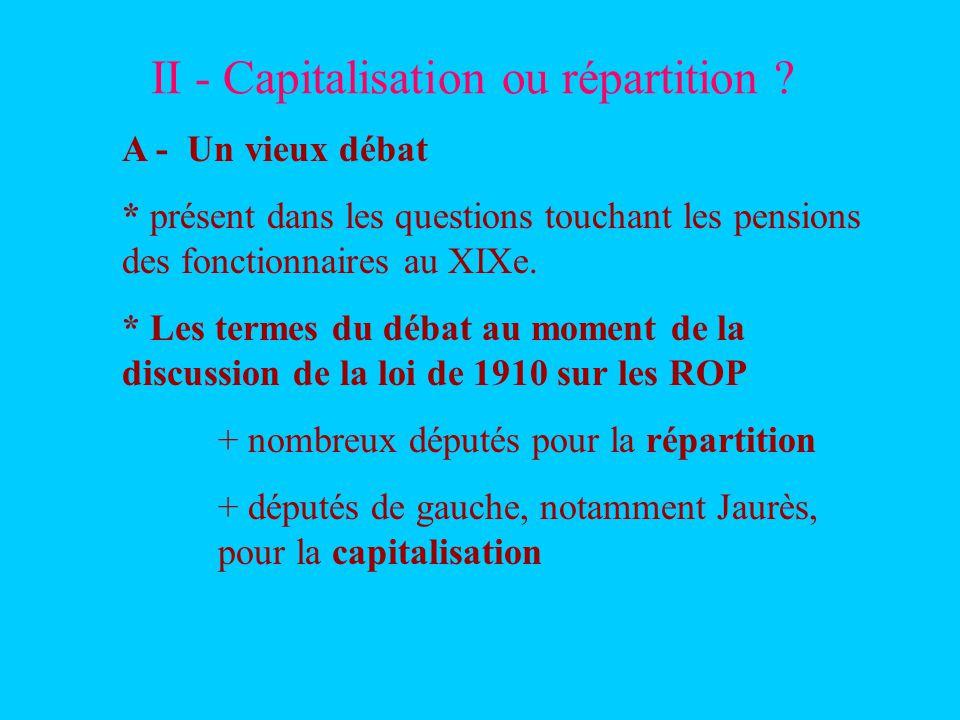 II - Capitalisation ou répartition ? A - Un vieux débat * présent dans les questions touchant les pensions des fonctionnaires au XIXe. * Les termes du