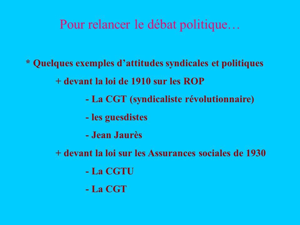 Pour relancer le débat politique… * Quelques exemples dattitudes syndicales et politiques + devant la loi de 1910 sur les ROP - La CGT (syndicaliste révolutionnaire) - les guesdistes - Jean Jaurès + devant la loi sur les Assurances sociales de 1930 - La CGTU - La CGT