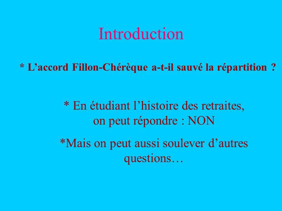 Introduction * Laccord Fillon-Chérèque a-t-il sauvé la répartition ? * En étudiant lhistoire des retraites, on peut répondre : NON *Mais on peut aussi