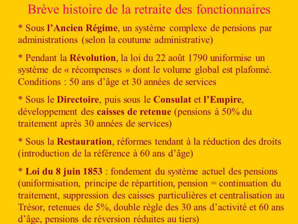 Brève histoire de la retraite des fonctionnaires * Sous lAncien Régime, un système complexe de pensions par administrations (selon la coutume administrative) * Pendant la Révolution, la loi du 22 août 1790 uniformise un système de « récompenses » dont le volume global est plafonné.