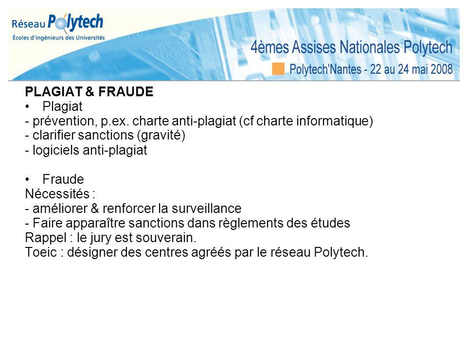 PLAGIAT & FRAUDE Plagiat - prévention, p.ex. charte anti-plagiat (cf charte informatique) - clarifier sanctions (gravité) - logiciels anti-plagiat Fra