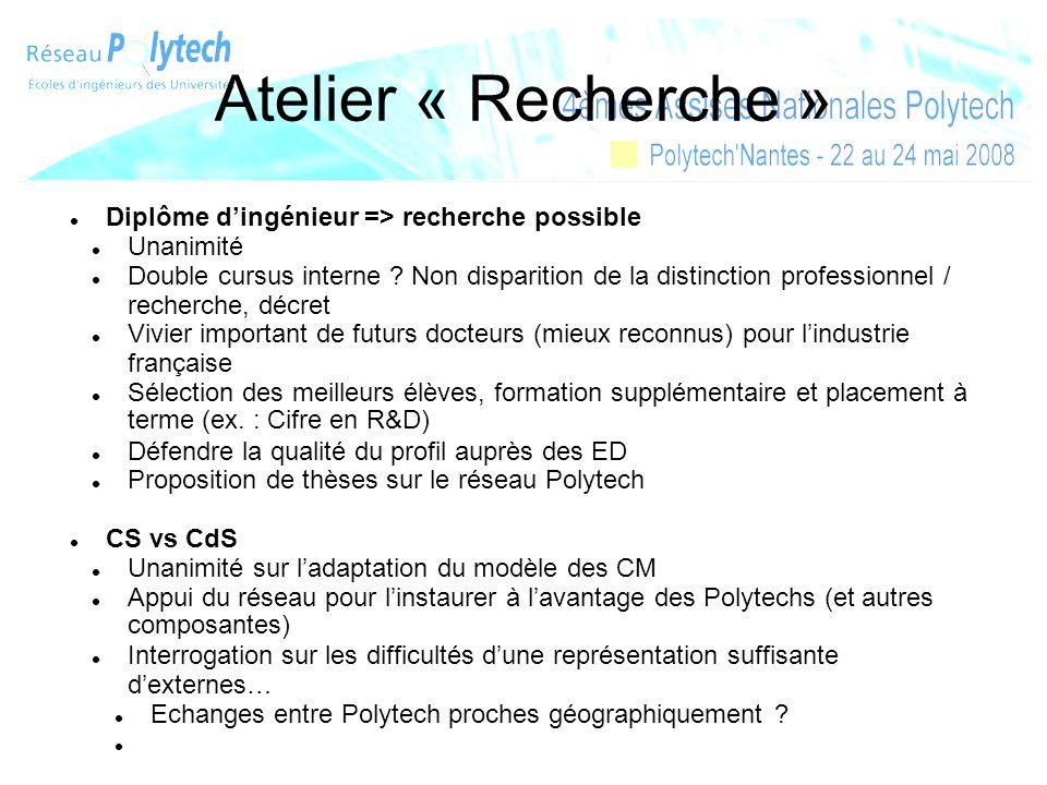 Atelier « Recherche » Diplôme dingénieur => recherche possible Unanimité Double cursus interne ? Non disparition de la distinction professionnel / rec