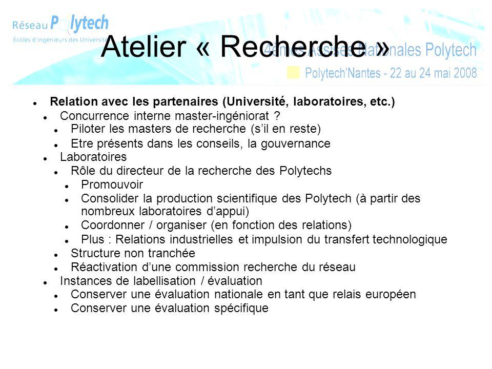 Atelier « Recherche » Relation avec les partenaires (Université, laboratoires, etc.) Concurrence interne master-ingéniorat ? Piloter les masters de re
