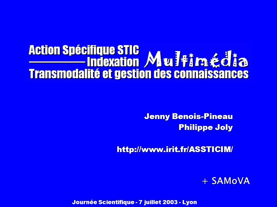 Journée Scientifique - 7 juillet 2003 - Lyon Jenny Benois-Pineau Philippe Joly http://www.irit.fr/ASSTICIM/ + SAMoVA