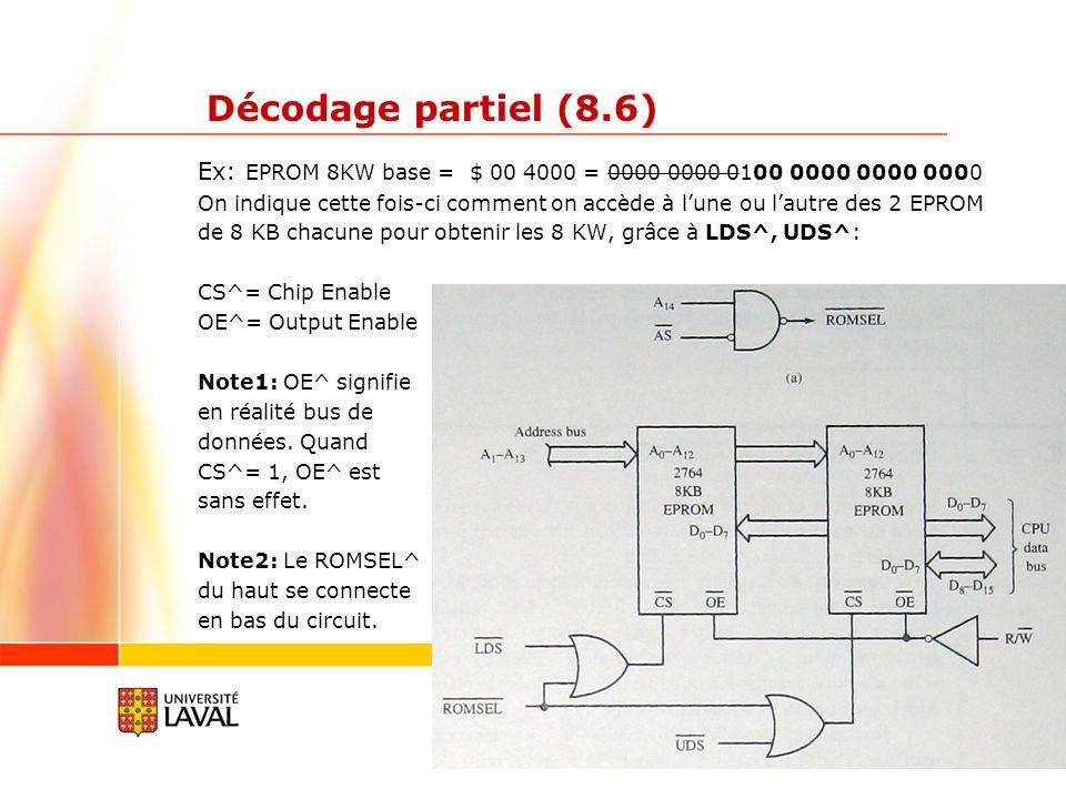 gif3002.gel.ulaval.ca 10 Décodage partiel (8.6) Ex: EPROM 8KW base = $ 00 4000 = 0000 0000 0100 0000 0000 0000 On indique cette fois-ci comment on accède à lune ou lautre des 2 EPROM de 8 KB chacune pour obtenir les 8 KW, grâce à LDS^, UDS^: CS^= Chip Enable OE^= Output Enable Note1: OE^ signifie en réalité bus de données.