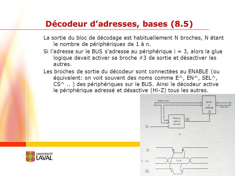 gif3002.gel.ulaval.ca 4 Décodeur dadresses, bases (8.5) Exemple 1 (livre p 269): On veut connecter une ram de 64KW (Kilo Word, soient 2 circuits de 64KB, lun fera les adresses paires, et lautre les adresses impaires).