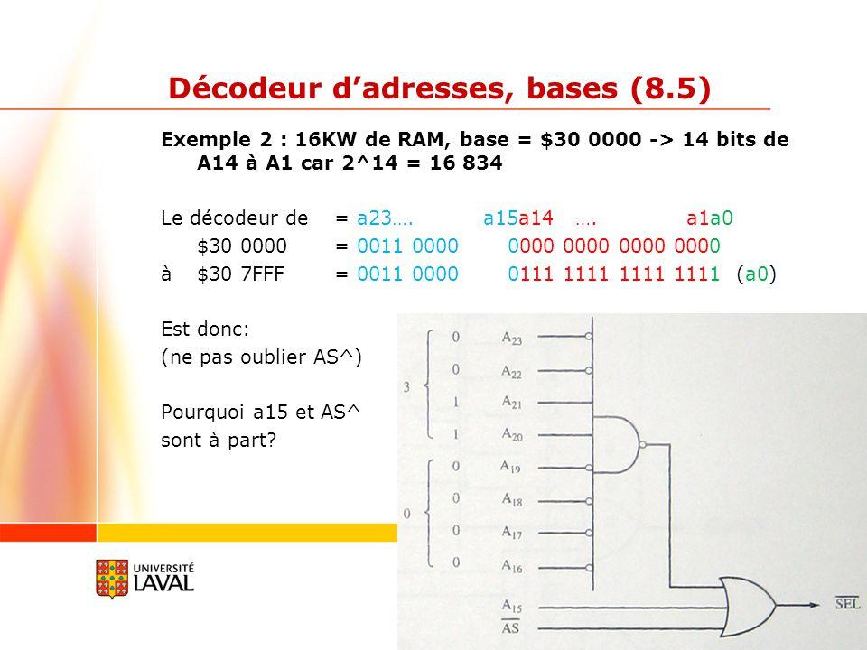 gif3002.gel.ulaval.ca 7 Décodeur dadresses, bases (8.5) Exemple 3 : 16KW de ROM, base = $60 0000 et 16KW de RAM, base $70 000 Décodeur ROM = a23….