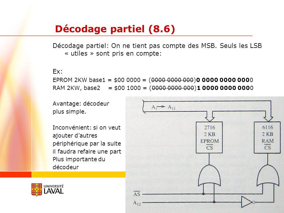 gif3002.gel.ulaval.ca 9 Décodage partiel (8.6) Décodage partiel: On ne tient pas compte des MSB.