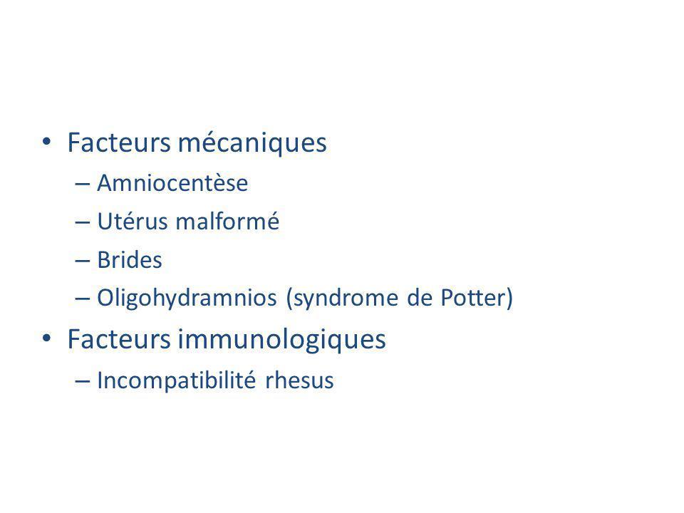 Facteurs mécaniques – Amniocentèse – Utérus malformé – Brides – Oligohydramnios (syndrome de Potter) Facteurs immunologiques – Incompatibilité rhesus
