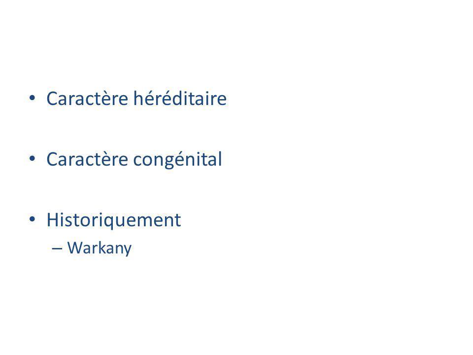 Caractère héréditaire Caractère congénital Historiquement – Warkany