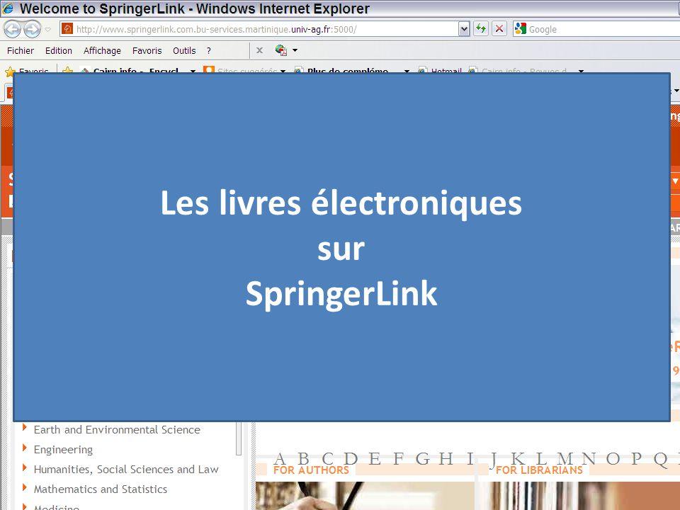 Les livres électroniques sur SpringerLink
